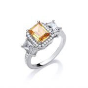 Sterling silver citrine and clear Cubic Zirconia trilogy halo ring